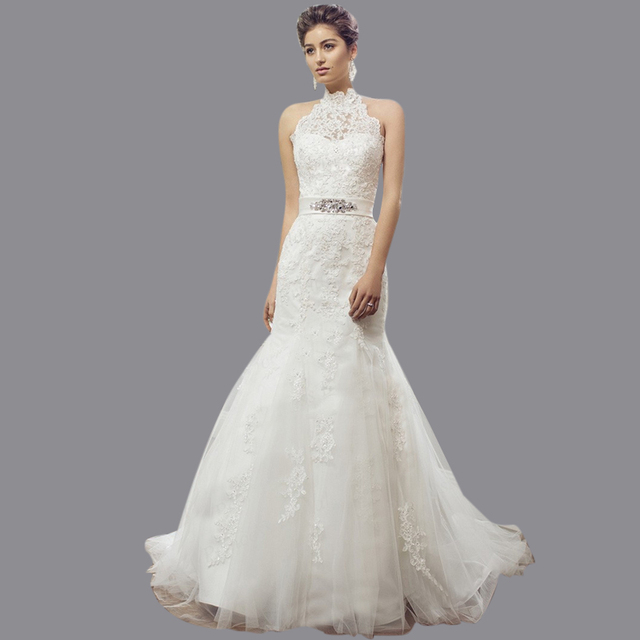 84c6a9b1f60 New Arrival Retail High Quality Trumpet Corset Back Appliqued Sweep Train  Soft Tulle Halter Neck Wedding Dress Pattern M1404