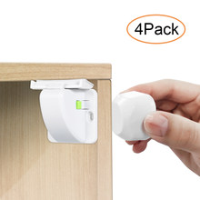 Magnetic Child Safety Lock 4 locks+1 Magnetic key Baby Protections Cabinet Door Lock Kids Drawer Locker Security Invisible Locks(China)