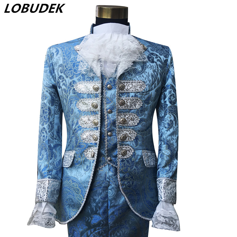 European Wedding groom dresses Prom Men Court Costume Male Host Singer Chorus Stage Outfit Studio Blue Fashion Slim Blazer Suit