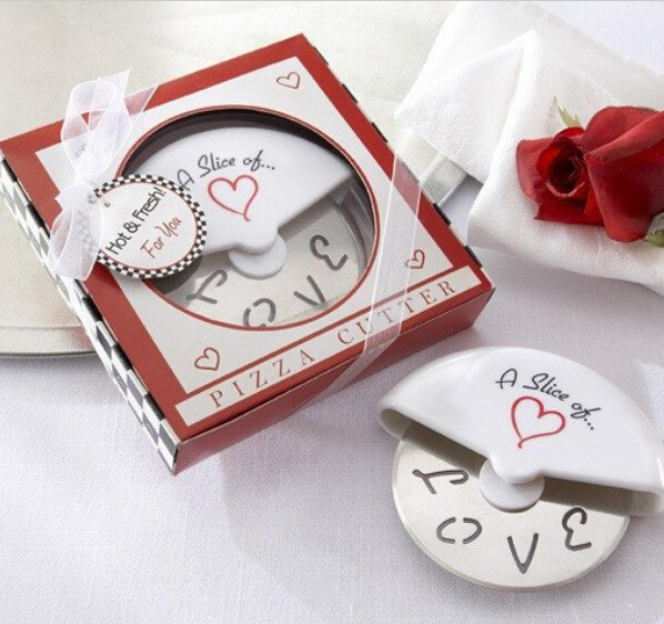 free shipping 80 Slice of Love Stainless Steel Pizza Cutter novelty wedding favors and gifts Free shipping