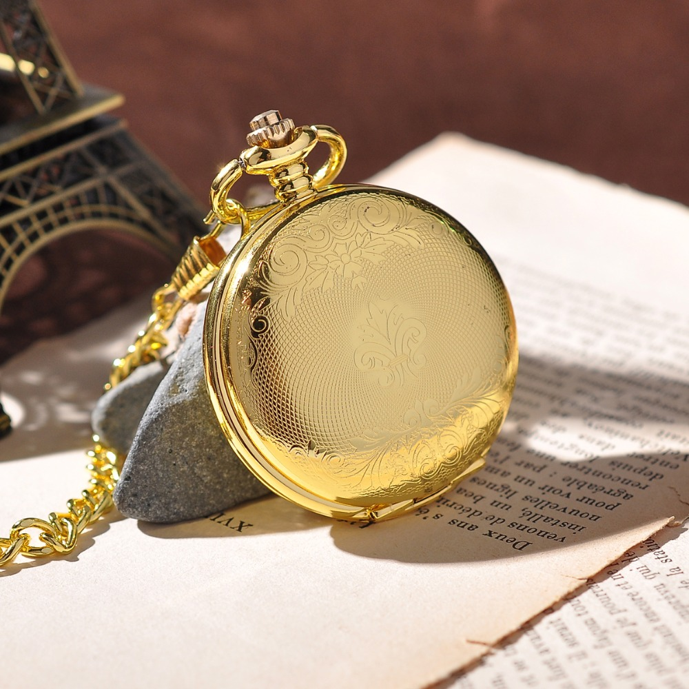 Gold Shield Pendant Full Hunter Retro Pocket Watch Wi