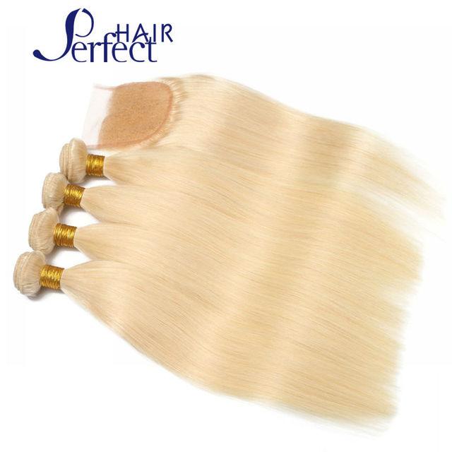 7A Pelo Virginal Brasileño Con Cierre Rubia Cierre de Cordones Con haces Armadura Brasileña Del Pelo Bundle 1 Unid platinum blonde weave