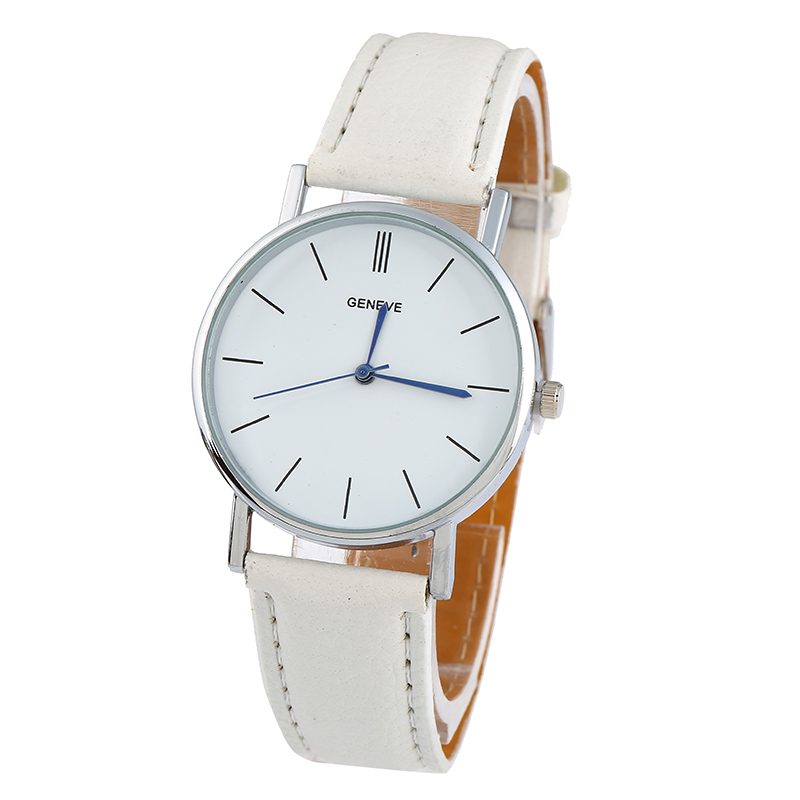 New Golden Geneva Platinum Watch Woman Fashion Pu Leather Casual Dress Women Wristwatch Boy Fashion Watch