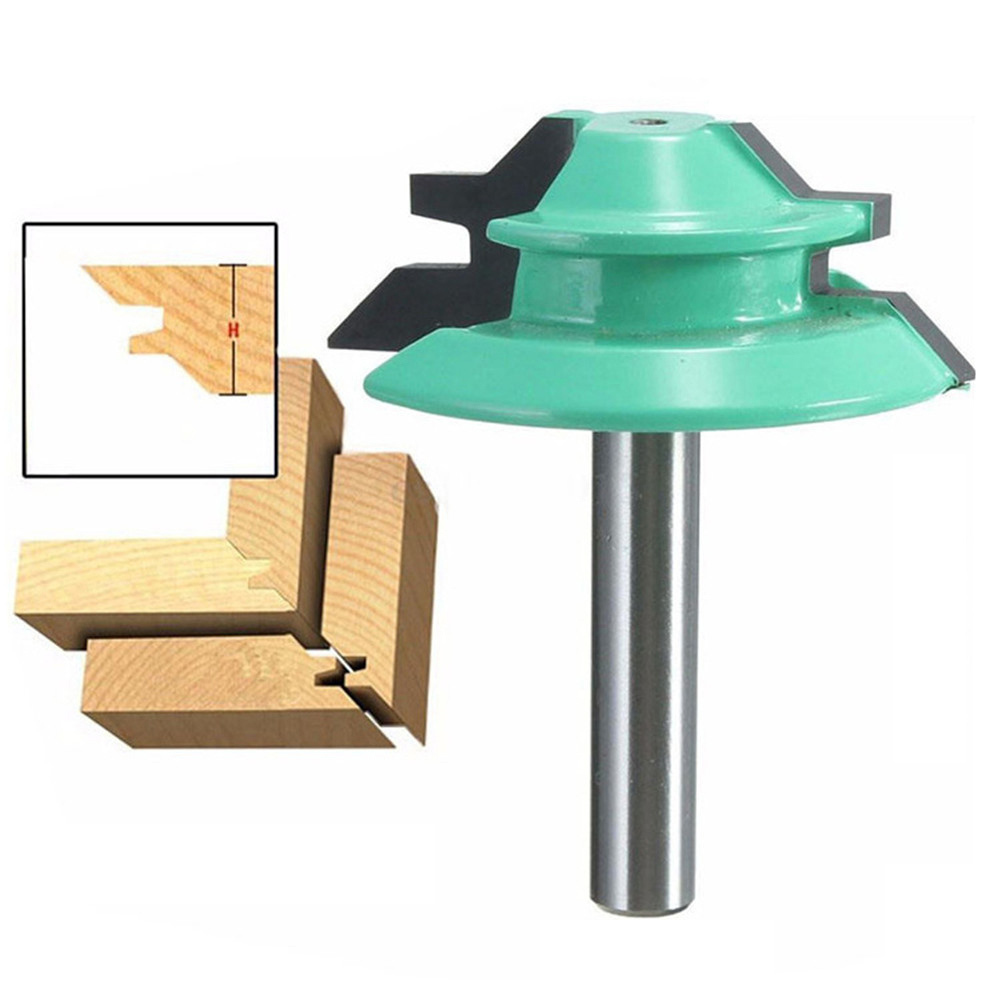 45 Degree Lock Miter Router Bit 1-1/2 Diameter 1/4 Shank Wood Cutter For Wood Working Drilling