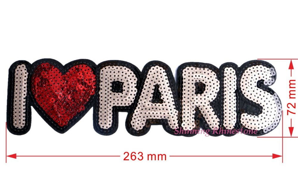 1pc embroidered patch sequins i i love paris iron for Sew on letters for clothing