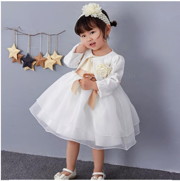 Baby Girl's Pageant Suits 2017 Summer Lace Christening Dress+Headband+Coat Infant 3PCS Sets Kids Birthday Wedding Formal Outfits baby girl 1st birthday outfits short sleeve infant clothing sets lace romper dress headband shoe toddler tutu set baby s clothes
