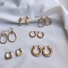 MENGJIQIAO Панк Простой дизайн матовые серьги-кольца из металла для женщин массивные ювелирные изделия неровные круглые Brincos Ювелирные Изделия