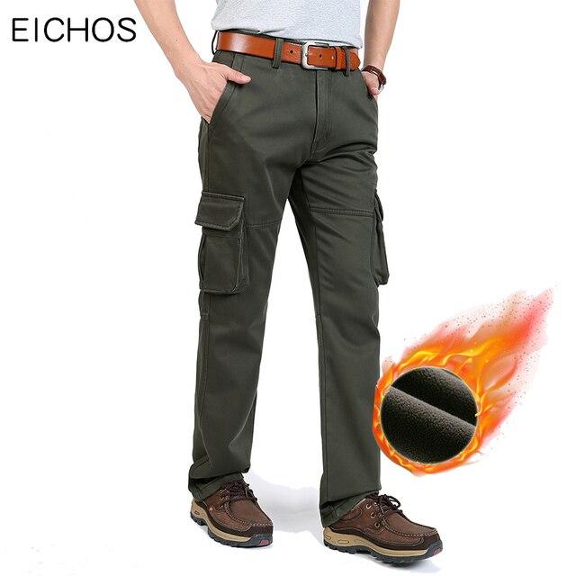 e1c7fd6db6b EICHOS Trousers Mens Cargo Pants 100% Cotton Men Joggers With Many Pockets  Autumn Winter Overalls Men Velvet Warm Man Pants