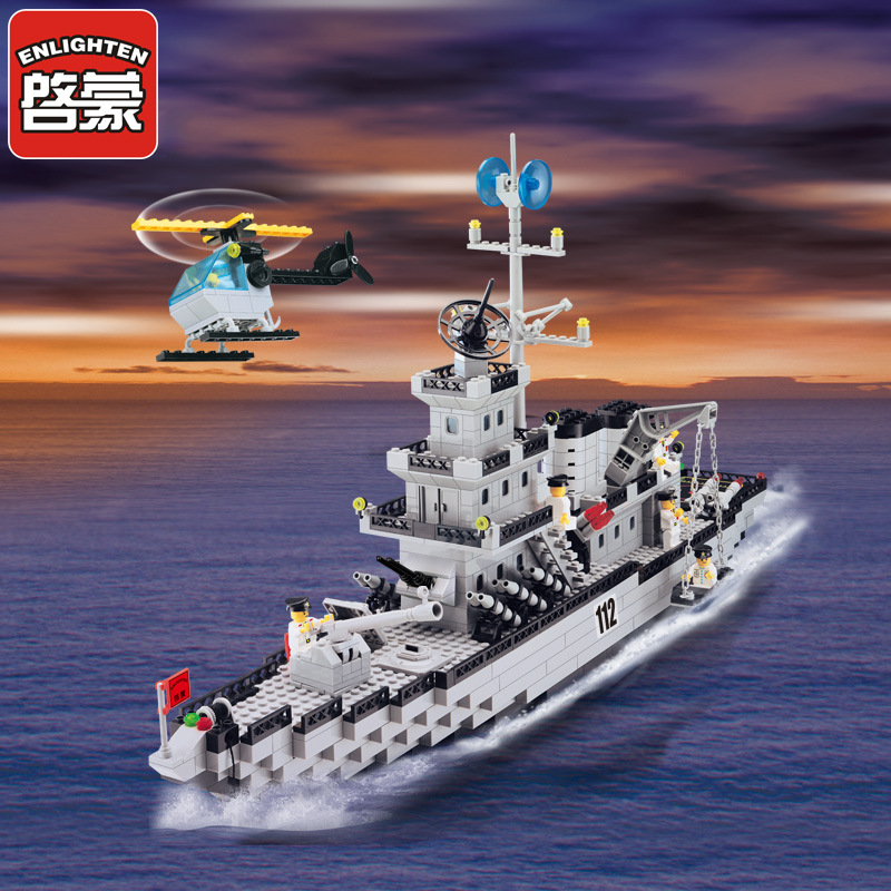 112 ENLIGHTEN City Military Navy Patrol Warships Destroyer Battleship Building Blocks Figure Toys For Children Compatible Legoe decool 3117 city creator 3 in 1 vacation getaways model building blocks enlighten diy figure toys for children compatible legoe