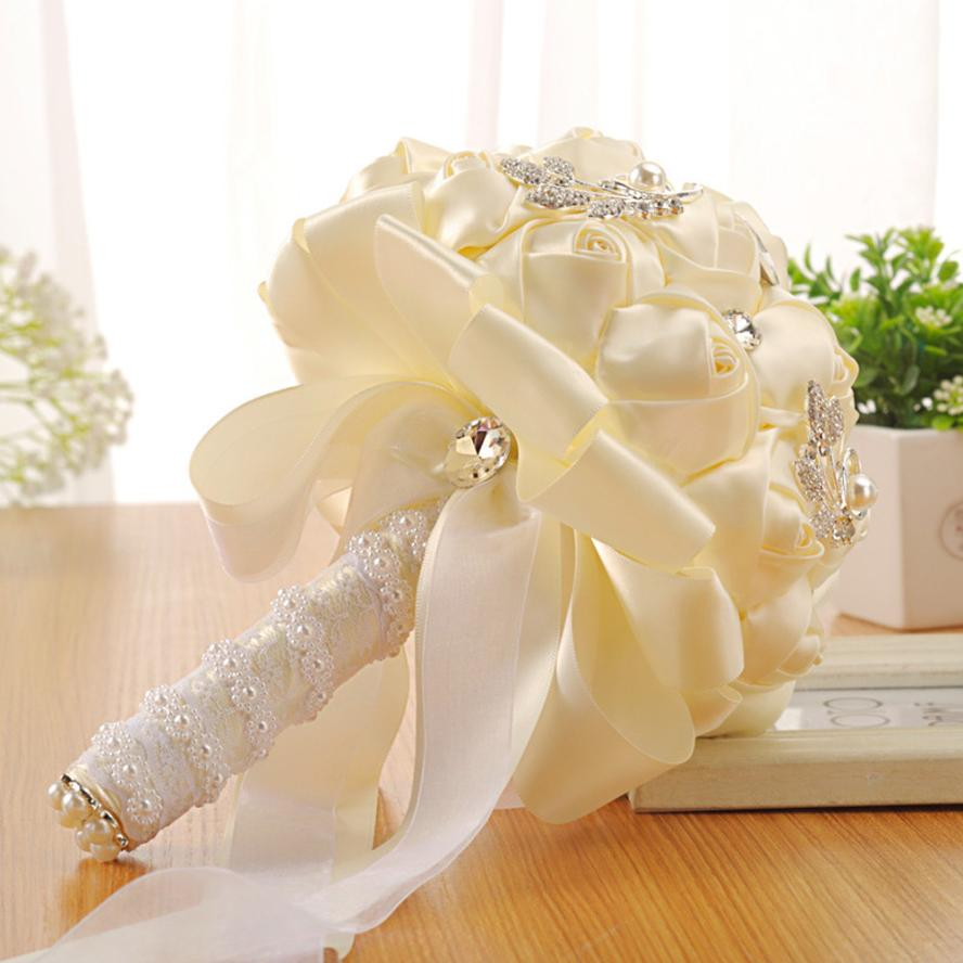 Pe Crystal Roses Pearl Bridesmaid Wedding Bouquet Bridal Artificial
