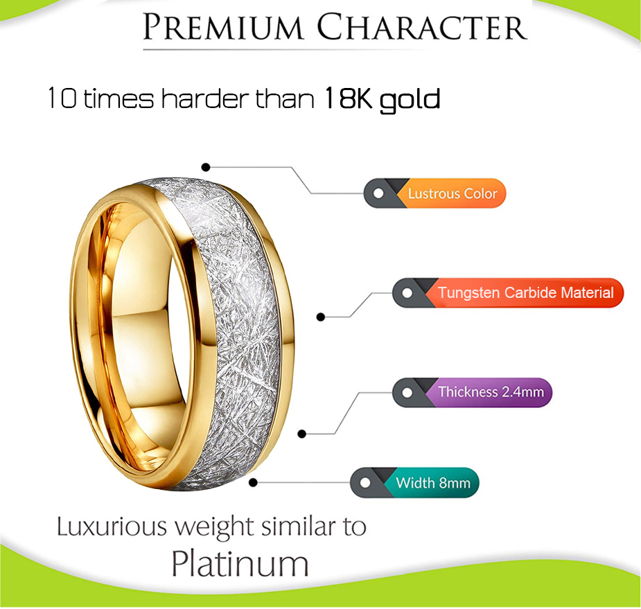 8mm Men Women Gold Tungsten Wedding Ring Polished Shiny Silver Meteorite Inlay Dome Engagement Ring with Comfort Fit in Wedding Bands from Jewelry Accessories