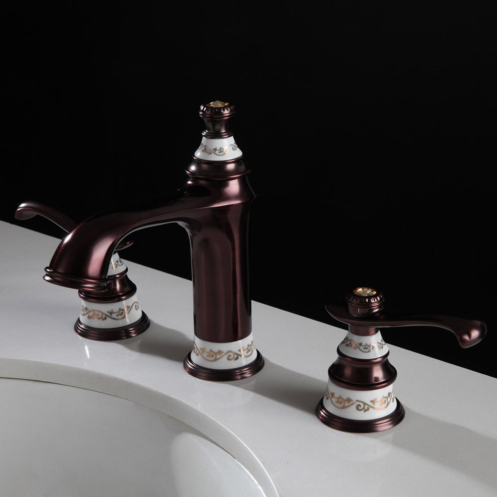Free Shipping Orb 8 Widespread Lavatory Bathroom Sink Faucet 3 Holes Bath Sink Faucet Brass