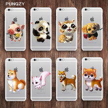 PUNQZY Animal Silicone Cover Case For iPhone X 6 6S 7 8 Plus 5 XS X Max XR Soft TPU Animal Transparent Pig Dog Cat Cute Glossy(China)