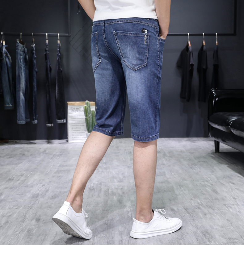 KSTUN Men's Jeans Trousers Summer Shorts Light Blue Stretch Denim Short Slim Fashion Shorts Man Casual Mens Jeans De Homme Newly 15