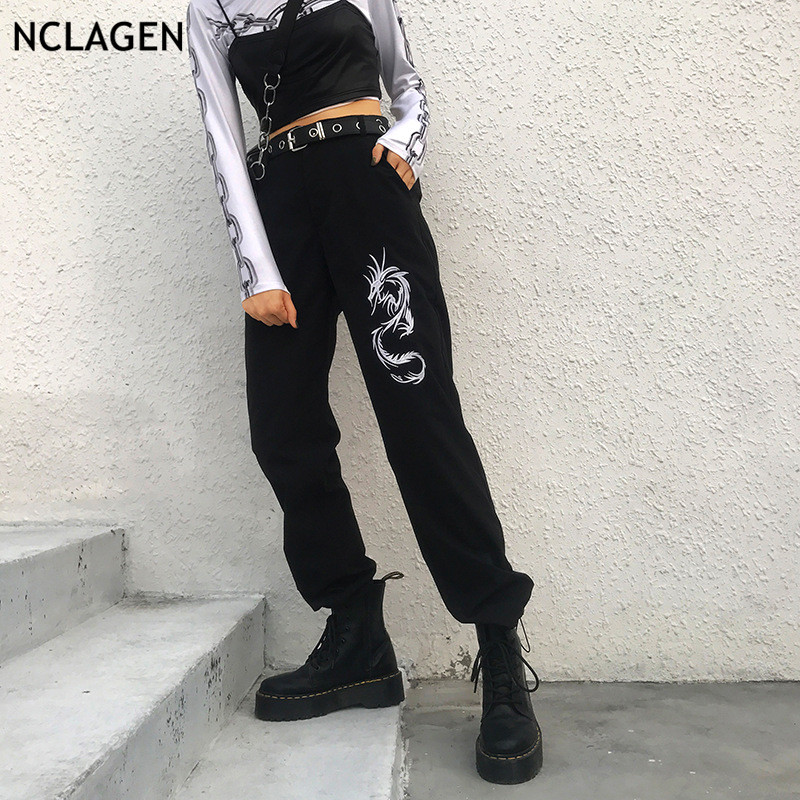 NCLAGEN 2019 Fashion Dragon Embroidery Causal Trousers High Waist Harem Pants Sweat Capris Pantalons Sexy Women Workout Pants