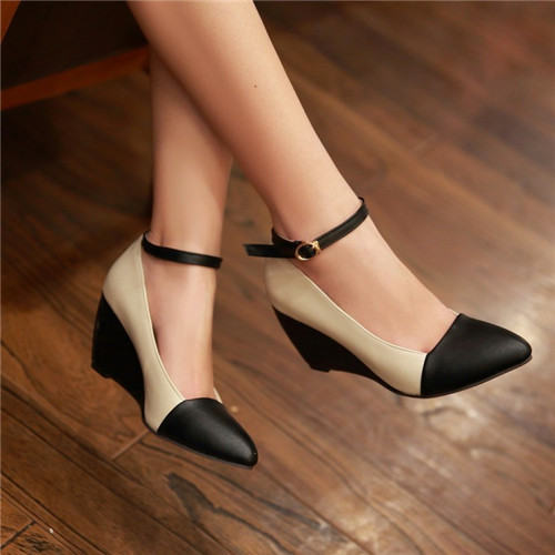 Pxelena Office Las New Pointy Toe Ankle Stry Womens Wedge Heel Shoes Female Contrast Color Mary