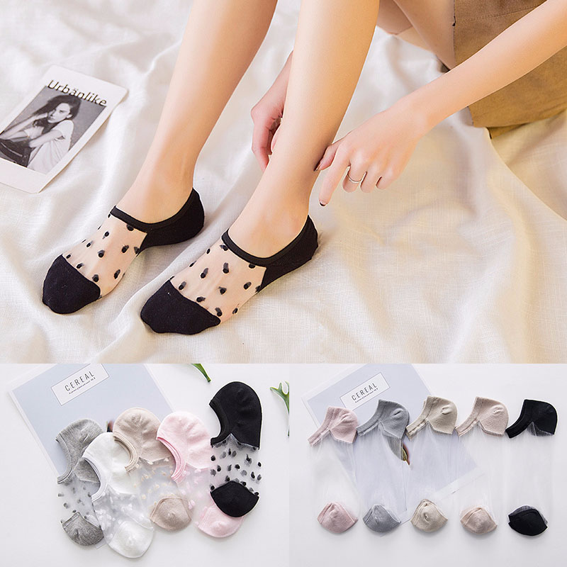 Sexy Lace Mesh Fishnet Socks Mixed Fiber Transparent Stretch Elasticity Ankle Net Yarn Thin Women Cool Socks K-27