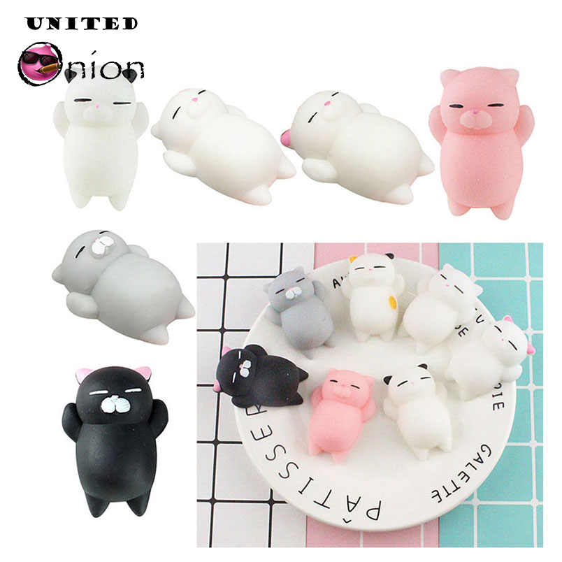 Squishy Soft Cute Cat Antistress Decompression Toy Jumbo Slow Rising Fun Stress Squishies Squeeze Phone Straps Keychain Toys