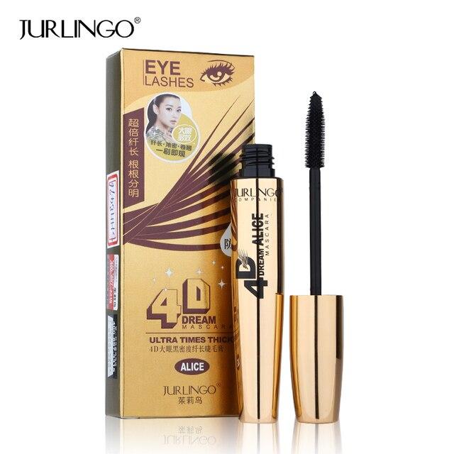 e6649e447c7 New Fashion Gold Style 4D Black Mascara Brand JURLINGO Makeup Super Volume  Curling Thick Eye Lash