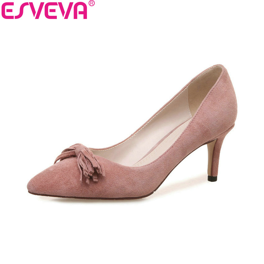 ESVEVA 2018 Women Pumps Thin Heels Cow Leather PU Slip on High Heels Pointed Toe Western Style Fringe Ladies Shoes Size 34-39 new pu printing leather sexy print pumps ladies elegant pointed toe thin high heels slip on shoes women shoes large size 33 48