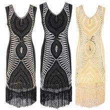 1920 s Diamante Lantejoulas Embelezado Vestido de Franjas Grande Gatsby Flapper Mulheres Sem Mangas Retro Vestido de Festa Midi Vestido Ucrânia