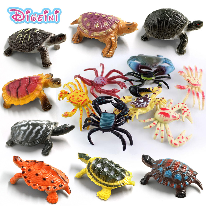 Kawaii Simulation Animals Statue Sea Turtle Crab Model Figurine Fairy Garden Terrarium Home Decor Craft Bonsai Bottle PVC Toys