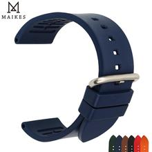 MAIKES Watch Accessories Rose Red Fluoro Rubber Band 20mm 22mm 24mm Strap Sport Divers Watchband For Seiko Tudor