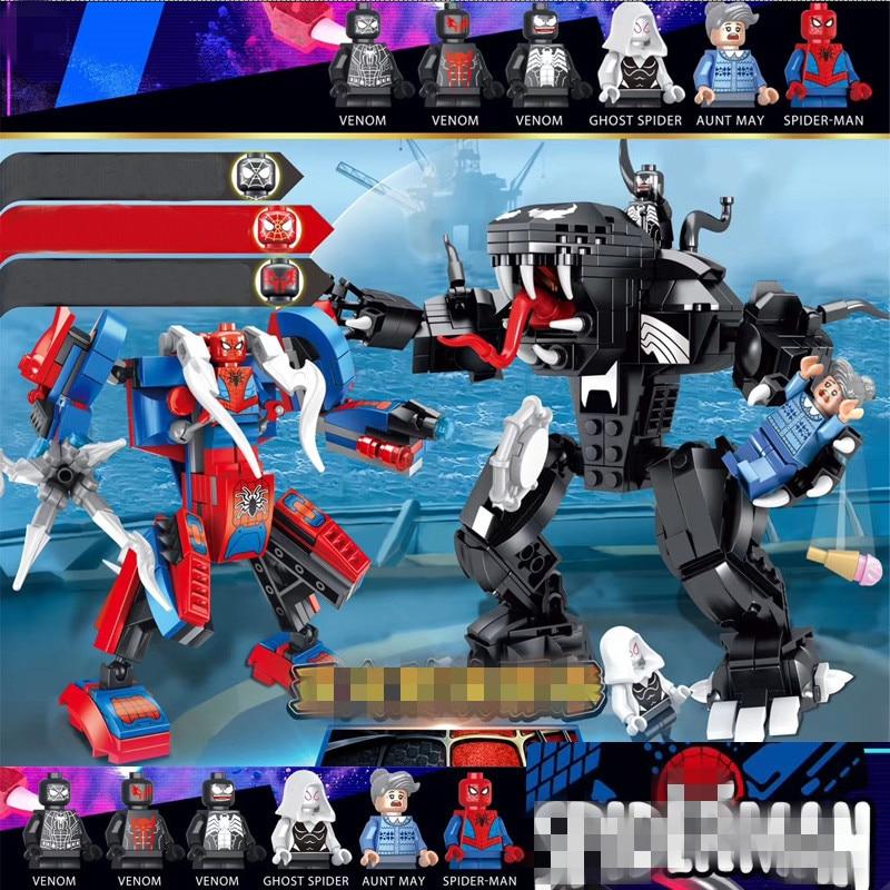 New Superheroes Avengers 4 Spiderman Venom Mech Compatible Marvel Endgame Figures Building Blocks 76115
