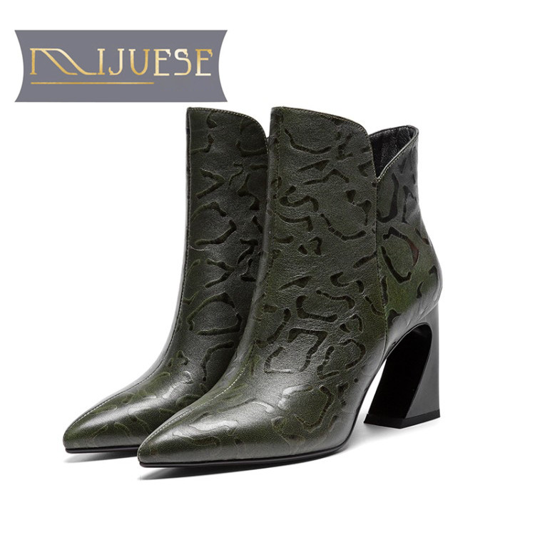 MLJUESE 2019 women ankle boots cow leather Totem zippers green color winter short plush Fretwork heels high heels women boots marulong s0002 women s fashionable flower pattern short sleeved nightdress green multi color