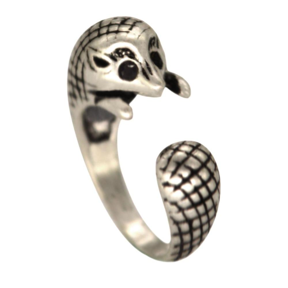 Qiamni Vintage Anel Punk Lovely Adjustable 3d Hedgehog Animal Ring