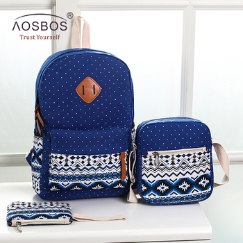 Aosbos Luminous Canvas Girls Backpacks High Quality Teenager Cute School Bag Satchel Female Travel Rucksacks for Students