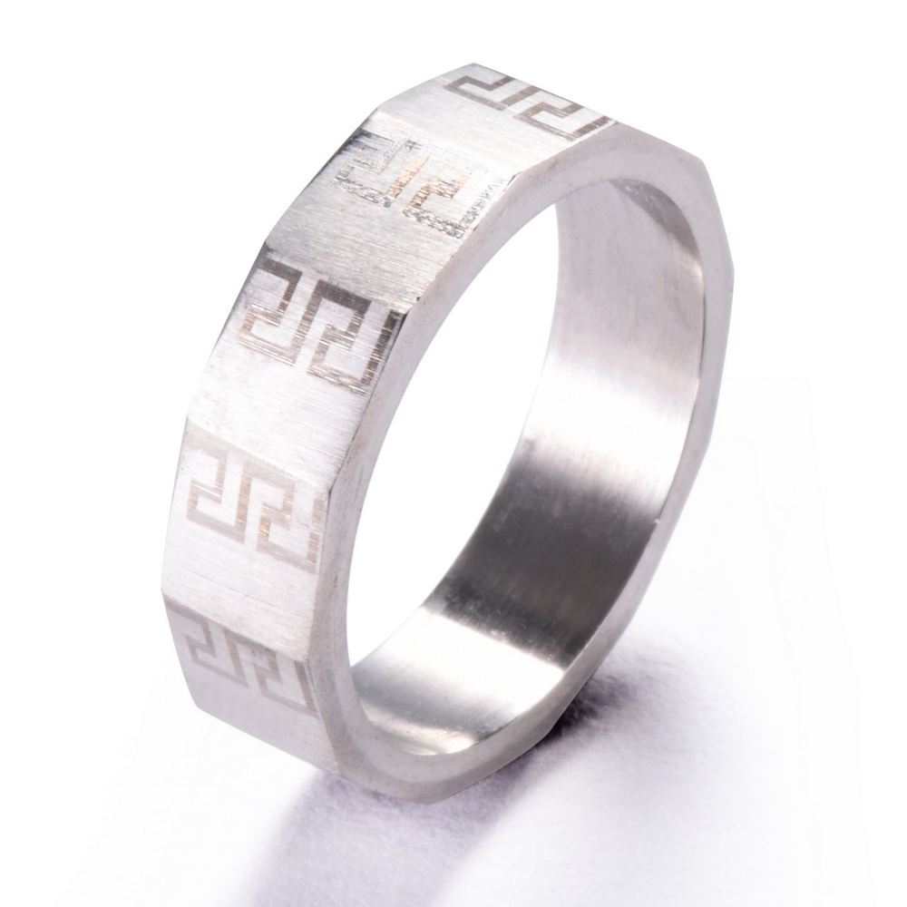 amgjck geometric ring greek key pattern mens ring punk wedding jewelry reto style 316l stainless steel - Cheap Wedding Rings For Women