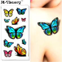 M-theory 3D Butterfly Makeup Temporary Tattoos Sticker Henna Body Arts Flash Tatoos Stickers 19x9cm Swimsuit Bikini Makeup Tools