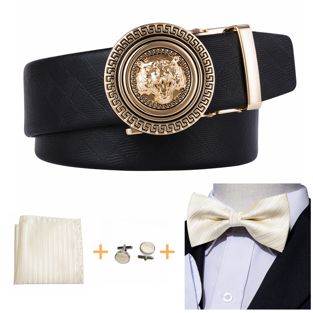 PK-2072 Barry.Wang Bowtie Set Mens   Belts   High Quality Luxury Cow Leather New Style Tiger Designer   Belt   For Men Wedding Business