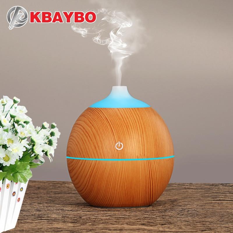 KBAYBO 130 Ml Aroma difusor de aceite esencial ultrasonido USB madera aire con grano de madera 7 Color cambiante llevó luces para el hogar