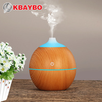 KBAYBO 130ml Aroma Essential Oil Diffuser USB Ultrasonic Wood Air Humidifier With Wood Grain 7Color Changing