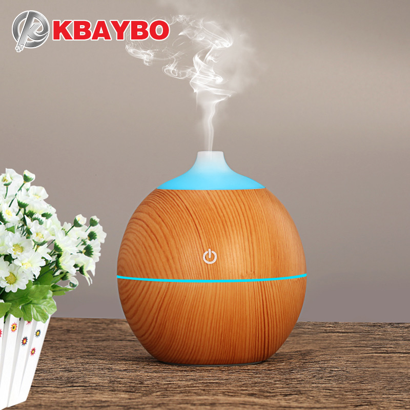 KBAYBO 130ml Aroma essential oil diffuser USB ultrasonic wood Air Humidifier with Wood Grain 7Color Changing LED Lights for home