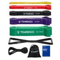 TOMSHOO, 5 упаковок, Натяжные Ленты, Набор резинок сопротивления, силовые тяговые ленты для упражнений с дверным якорем и ручками