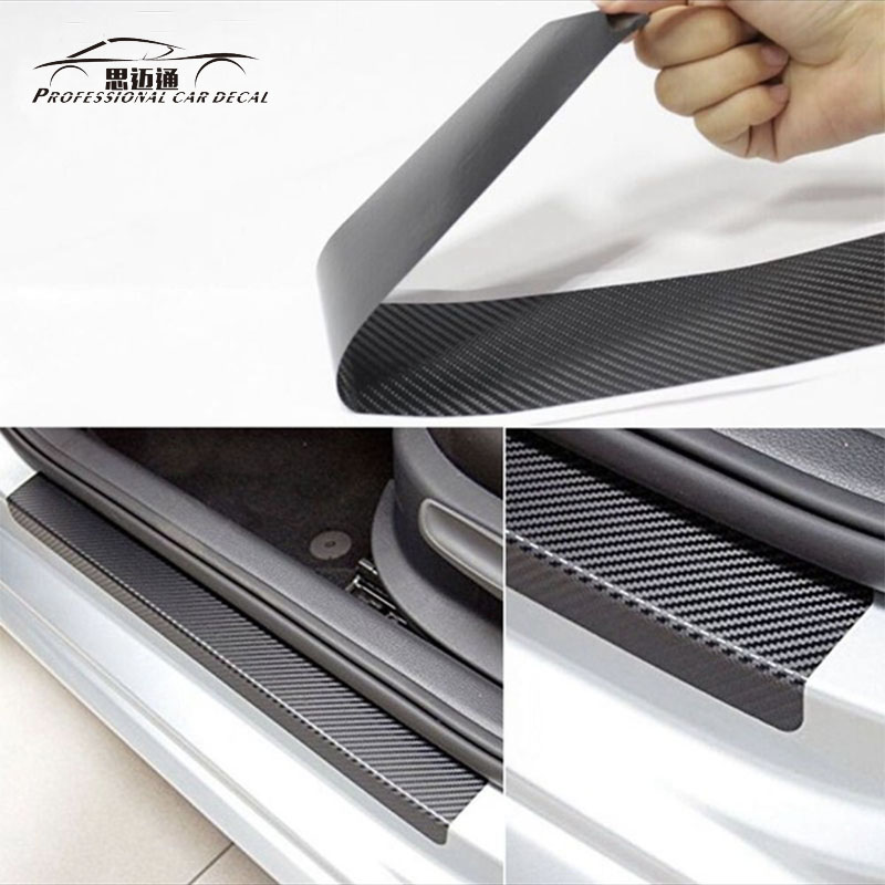 Car styling universal black protector sill scuff cover car door plate sticker 3D carbon fiber anti scratch 4pcs/set auto Cover carbon fiber vnyl door sill scuff plate welcome pedal threshold protect stickers for mazda cx 5 cx5 2014 2015 8pcs car styling