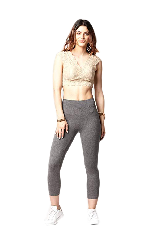 ICOSTUMES High Waisted Capri Soft Cotton Spandex Leggings Stretch And Breathable Fabric Leggings
