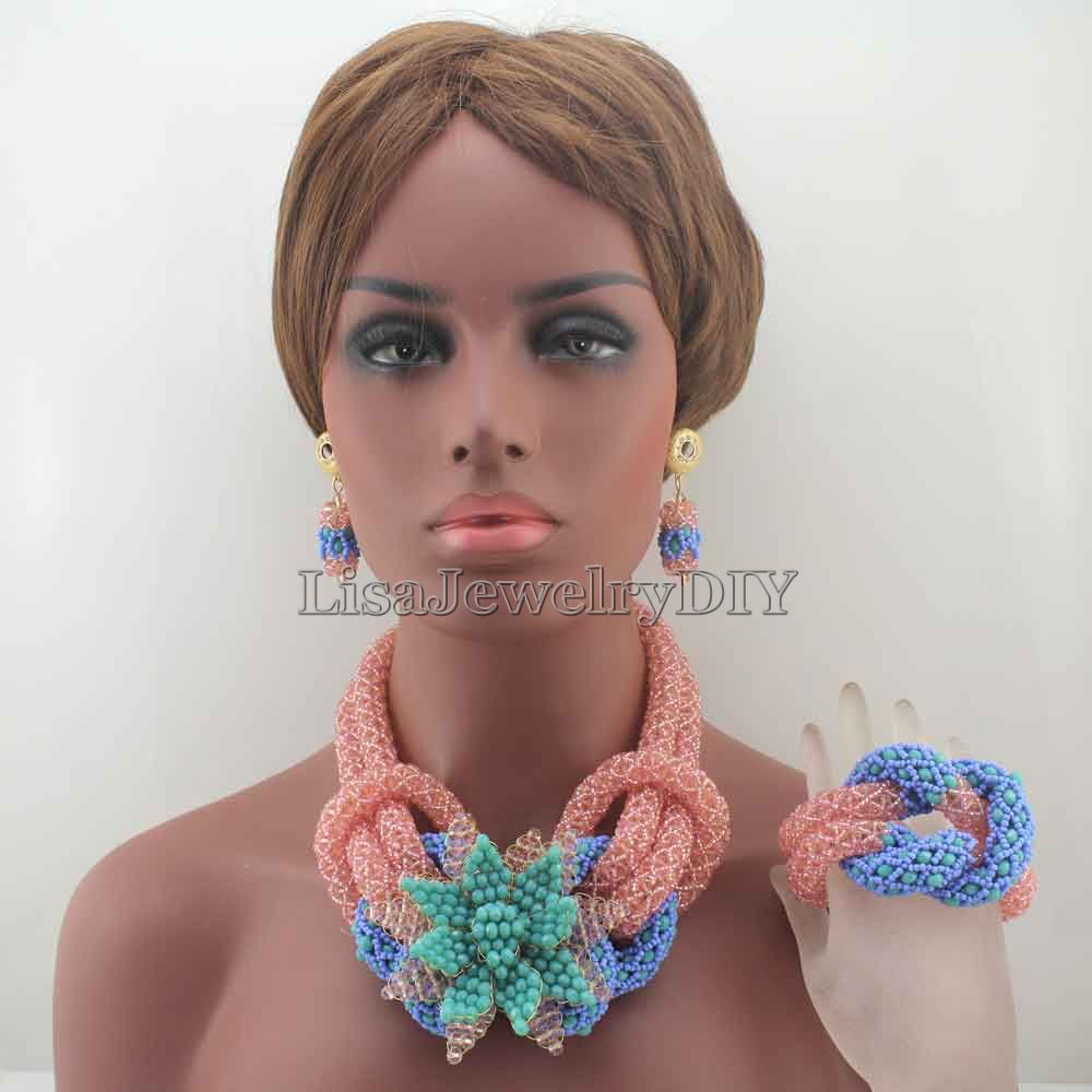 Charms African PinkLake Blue Beads Jewelry Sets for Women Mix Flower Crystal Floral Statement Necklace Set Free Shpping HD8048 hyperbolic layered beads floral necklace for women