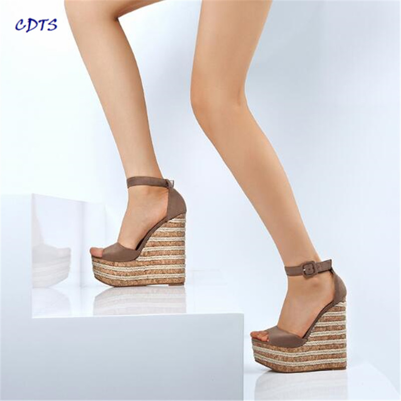 Crossdresser Stiletto 15cm Wedges Sandals Fashion Velvet Open Toe High-heeled Shoes Woman Buckle Suede Pumps Zapatos Mujer