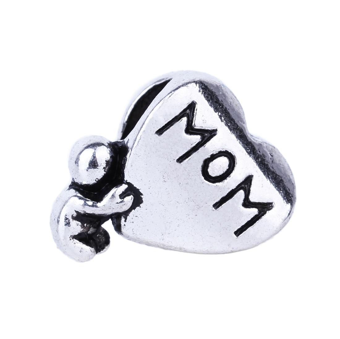Free Shipping 1pc Silver Mom Heart Alloy Bead DIY European Big Hole Beads Fits Charm Pandora Bracelets Necklaces Pendants