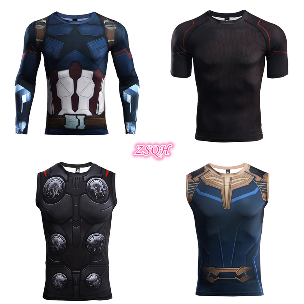 ZSQH 2019 Movie Avengers: Endgame Iron Man Tony Stark Cosplay Tank Tops Men Vest Steve Rogers Thor Captain America costume