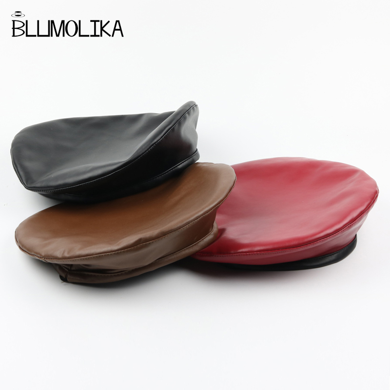 Lady Felt Pu Leather Solid Color Beret Caps for Women Autumn Winter Flat Berets Hat Girl 39 s Fashion Style Spring Sweat Cap Hats in Women 39 s Berets from Apparel Accessories