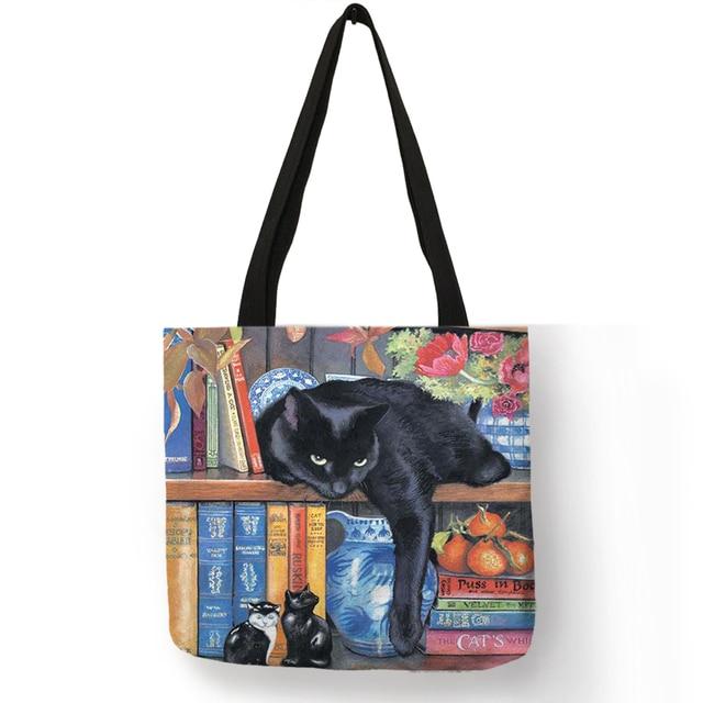 Oil Painting Cat Print Women Tote Bags Linen Reusable Shopping Bag Shoulder Bags for Women sac a main ladies handbags