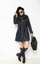 Female 2014 Winter New Hooded Thick Padded Denim Jacket Long Zipper Thick Warm Cotton-Padded Stitching Denim Coat Outwear A1464