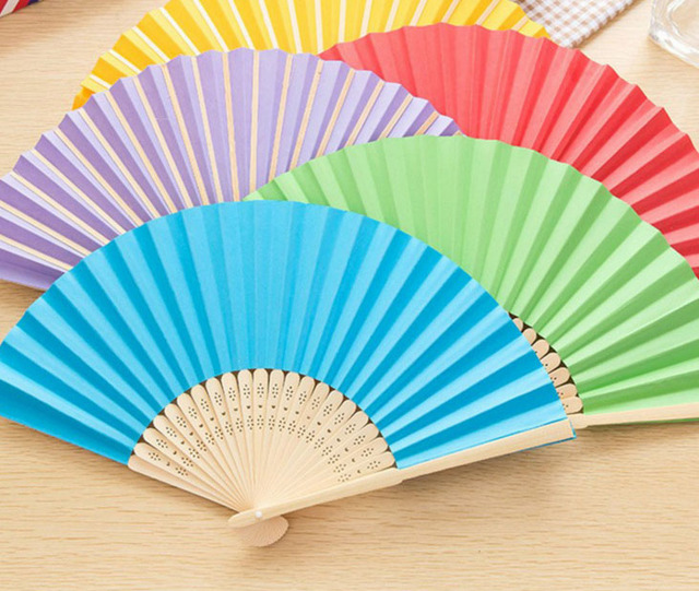 Candy Colorful Personalized Wedding Favor Gift Diy Paper Hand Fans