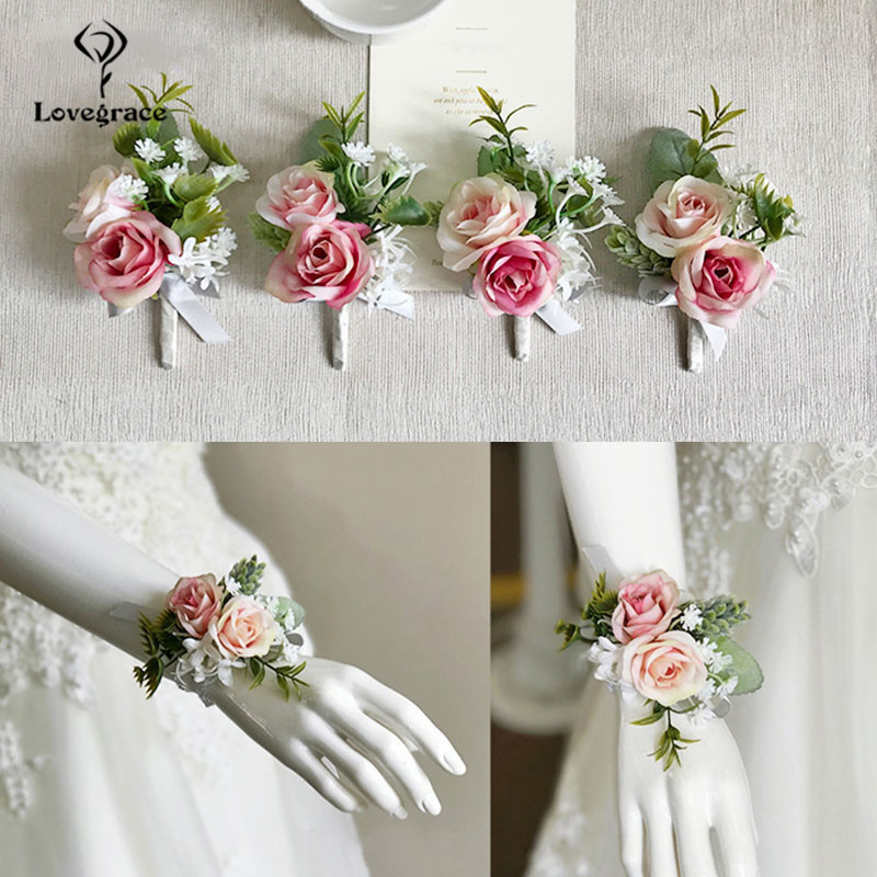 pink roses bridal Wrist corsages bracelet wedding flowers  (3)