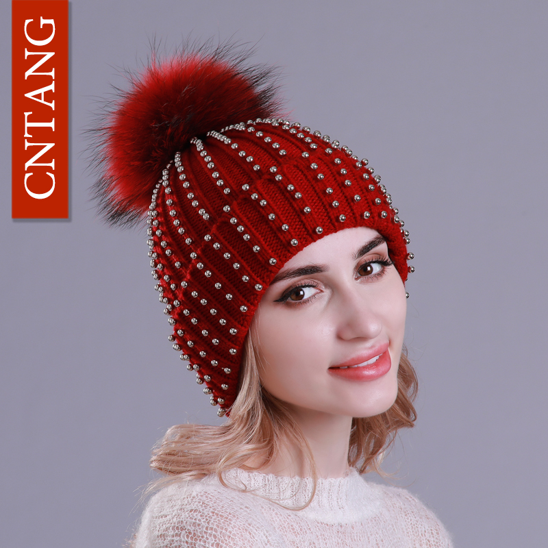 CNTANG Fashion Punk Hats For Women Winter Knitted Warm   Skullies     Beanies   With Pompom Fur Natural Caps Ladies Hip Hop Cool Hat